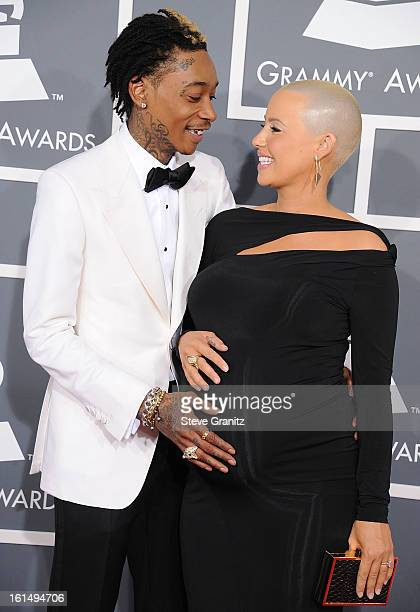 Amber Rose and Wiz Khalifa arrives at the The 55th Annual GRAMMY Awards on February 10 2013 in Los Angeles California