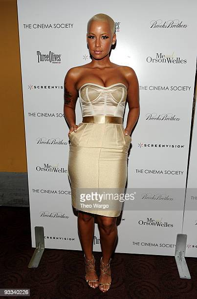 """Amber Rose attends a screening of """"Me And Orson Welles"""" hosted by the Cinema Society, Screenvision and Brooks Brothers at Clearview Chelsea Cinemas..."""