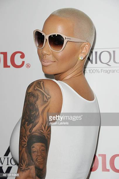 """Amber Rose attends Meghan Trainor's record release party for her debut album """"Title"""" at Warwick on January 13, 2015 in Hollywood, California."""