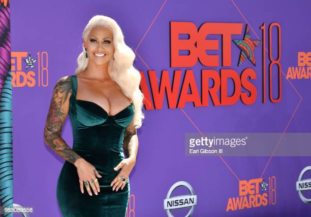 Amber Rose attends the 2018 BET Awards at Microsoft Theater on June 24 2018 in Los Angeles California