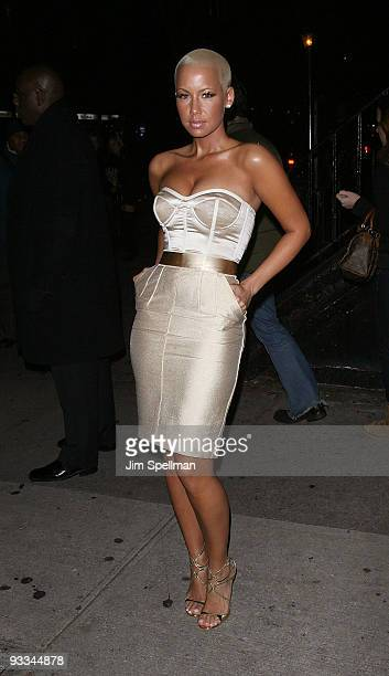 """Amber Rose attends The Cinema Society with Screenvision & Brooks Brothers screening of """"Me And Orson Welles"""" at Clearview Chelsea Cinemas on November..."""