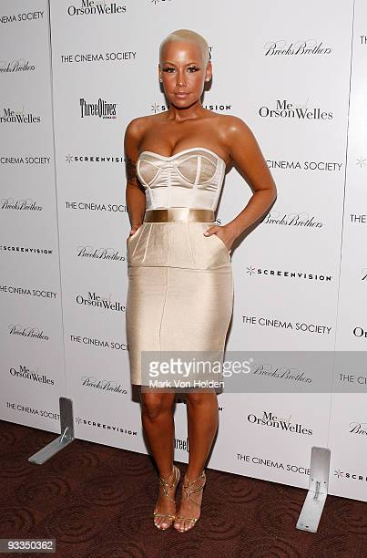 Amber Rose attends The Cinema Society with Screenvision Brooks Brothers screening of Me And Orson Welles at Clearview Chelsea Cinemas on November 23...