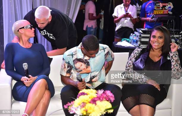 Amber Rose Cordell Broadus and Nina Parker attend KYST Know your Status Aidds awareness Tour for Atlanta at Clark Atlanta University on April 20 2017...