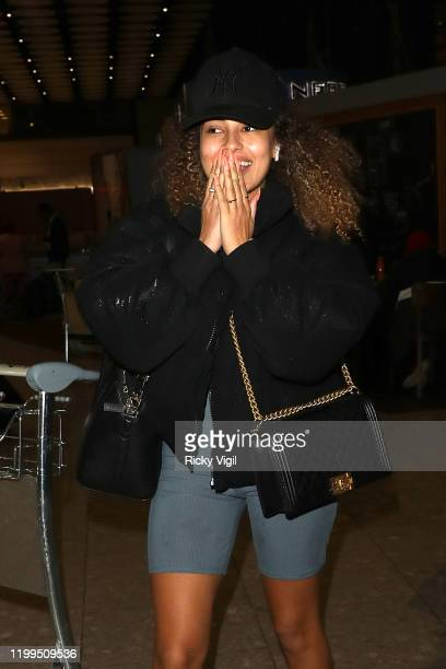 Amber Rose Gill seen arriving at Heathrow Airport, leaving on MISSPAP Thailand trip on January 14, 2020 in London, England.