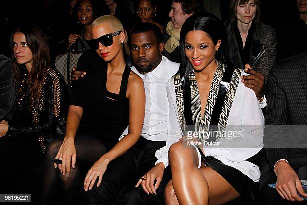 Amber Rose Kanye West and Ciara attend Givenchy Fashion Show during Paris Fashion Week Haute Couture S/S 2010 on January 26 2010 in Paris France
