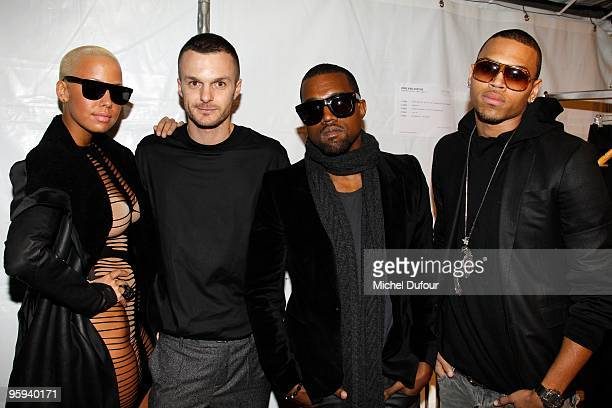 Amber Rose Kriss Van Assche Kanye West and Chris Brown at the Kriss Van Assche fashion show during Paris Menswear Fashion Week Autumn/Winter 2010 at...