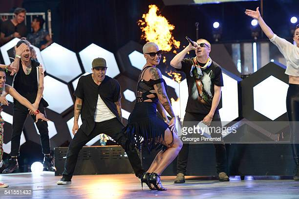 Amber Rose Macklemore and Ryan Lewis perform at the 2016 iHeartRADIO MuchMusic Video Awards at MuchMusic HQ on June 19 2016 in Toronto Canada
