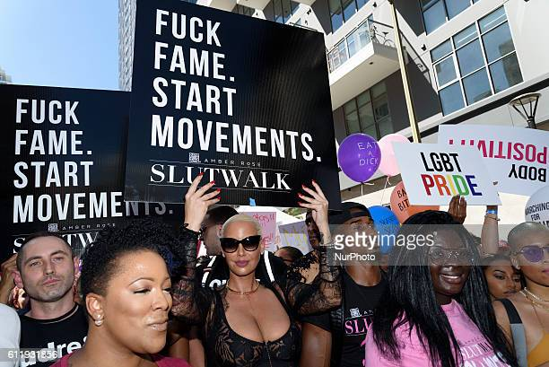 Amber Rose marchs during the 2nd Annual Amber Rose SlutWalk Festival in Los Angeles California October 1 2016 The event seeks to bring to an end slut...