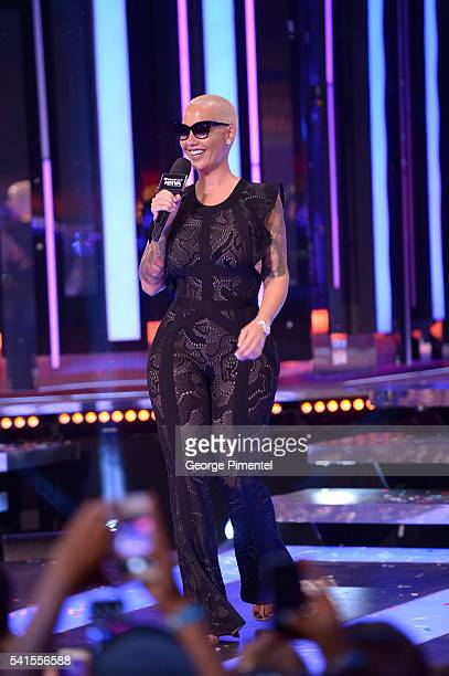 Amber Rose presents at the 2016 iHeartRADIO MuchMusic Video Awards at MuchMusic HQ on June 19 2016 in Toronto Canada