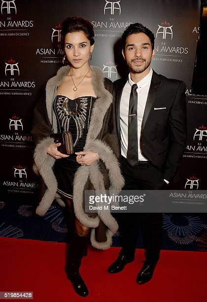 Amber Rose Revah and Neet Mohan attend the 6th Annual Asian Awards at The Grosvenor House Hotel on April 8 2016 in London England