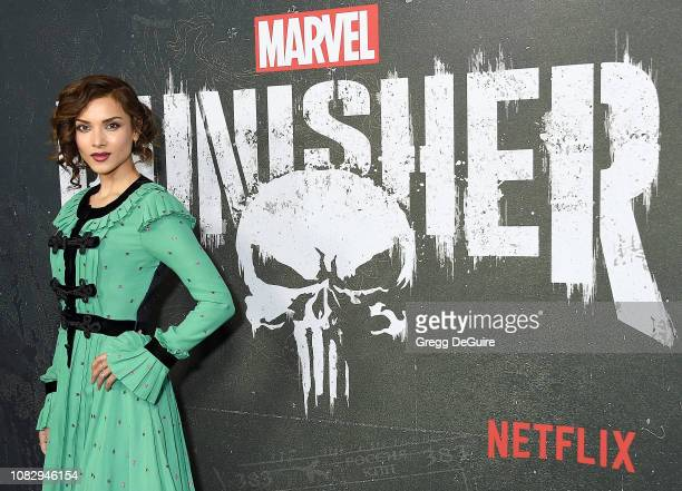 """Amber Rose Revah arrives at Marvel's """"The Punisher"""" Los Angeles Premiere at ArcLight Hollywood on January 14, 2019 in Hollywood, California."""