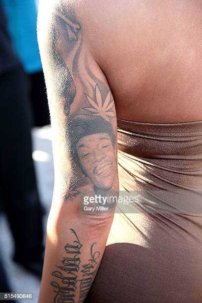 Amber Rose tattoo detail attends SXSW FilmInteractiveMusic festival on March 13 2016 in Austin Texas