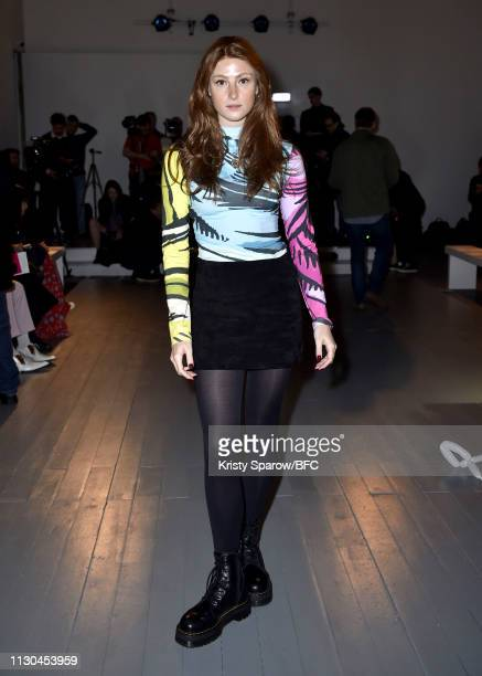 Amber Rowan attends the Richard Malone show during London Fashion Week February 2019 at the BFC Show Space on February 18 2019 in London England