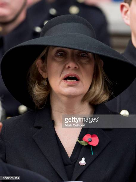 Amber Rudd during the annual Remembrance Sunday memorial on November 12 2017 in London England The Prince of Wales senior politicians including the...