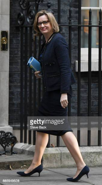 Amber Rudd MP Secretary of State for the Home Department arrives at the door of No10 for the weekly cabinet meeting on 5th December 2017 in London...