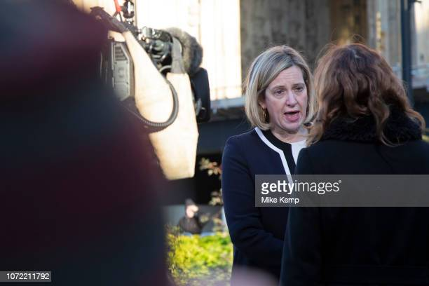 Amber Rudd MP Secretary of State for Work and Pensions gives an interview to the media on the day that Conservative Party MPs triggered a vote of no...