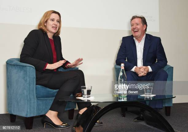 Amber Rudd Secretary of State for the Home Department and Piers Morgan attend Turn The Tables 2018 hosted by Tania Bryer and James Landale in aid of...
