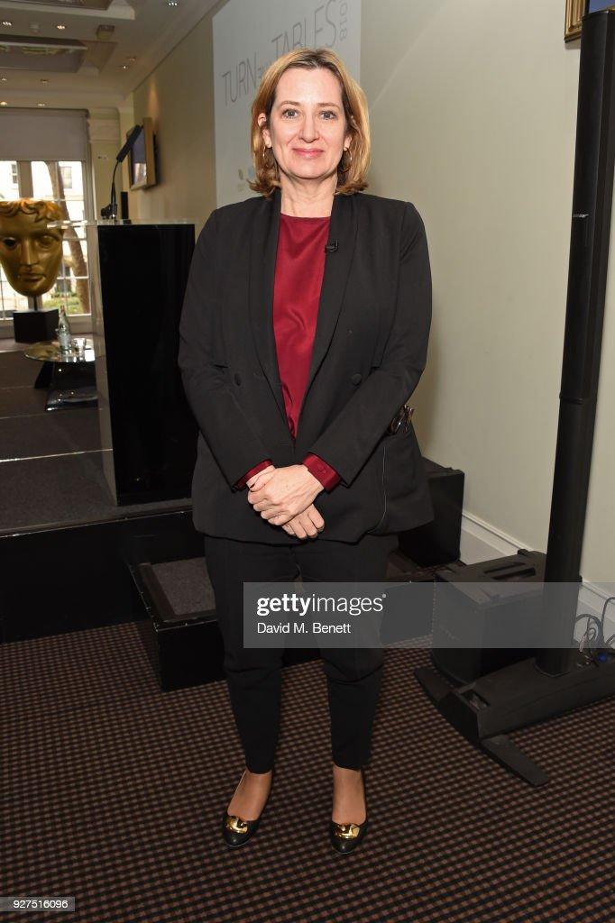 Amber Rudd, Secretary of State for the Home Department, attends Turn The Tables 2018 hosted by Tania Bryer and James Landale in aid of Cancer Research UK at BAFTA on March 5, 2018 in London, England.