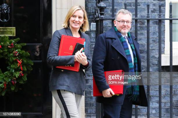 Amber Rudd Secretary of State for Work and Pensions and David Mundell Secretary of State for Scotland are seen departing from No 10 Downing Street...