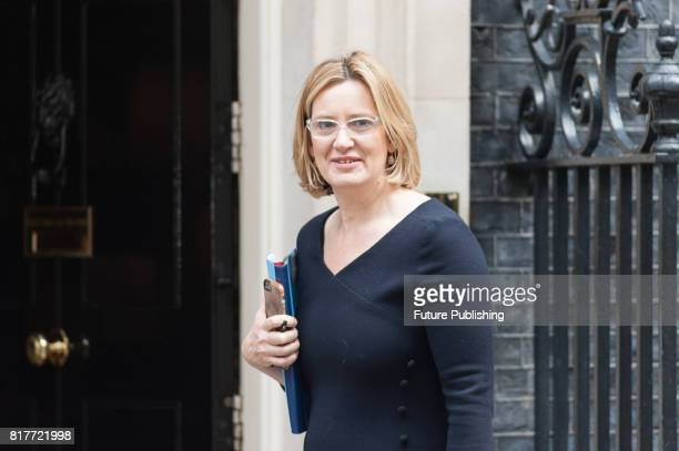 Amber Rudd the Secretary of State for the Home Department arrives for a weekly cabinet meeting at 10 Downing Street on July 18 2017 in London England...