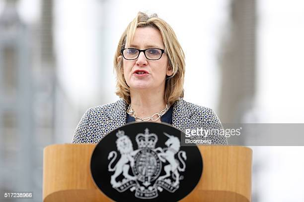 Amber Rudd UK energy secretary speaks at the BritNed interconnector a new 1gigawatt electricity link between Britain and the Netherlands operated as...