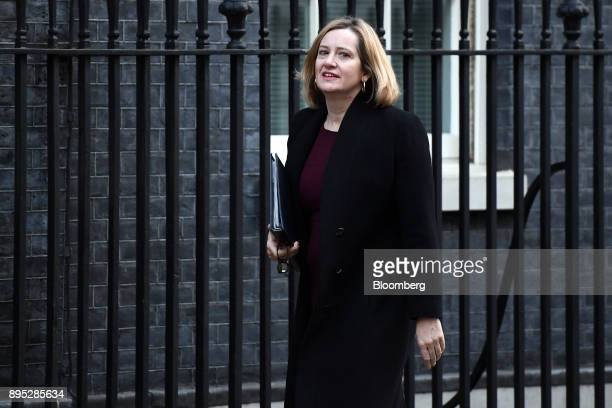 Amber Rudd UK home secretary arrives for a cabinet meeting at number 10 Downing Street in London UK on Tuesday Dec 19 2017 European Union Chief...