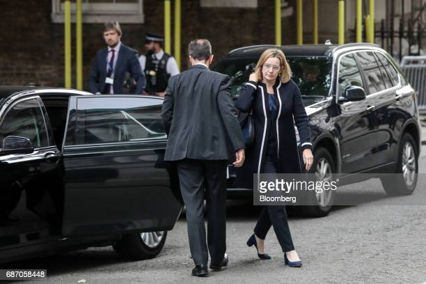 Amber Rudd UK home secretary arrives for a meeting of the government's Cobra emergency committee in Downing Street in London UK on Tuesday May 23...