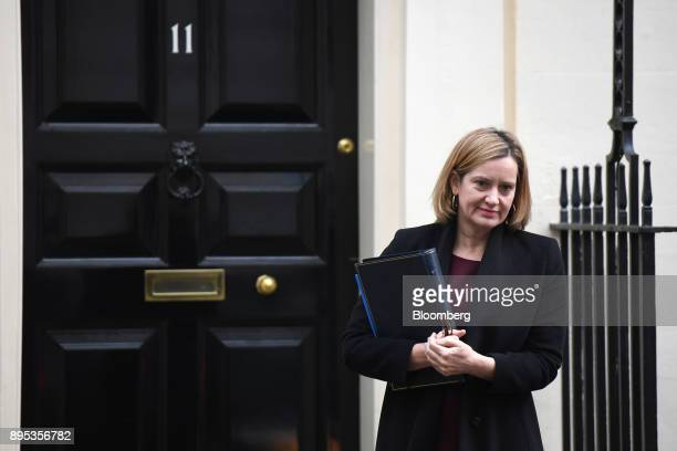 Amber Rudd UK home secretary departs following a cabinet meeting at Downing Street in London UK on Tuesday Dec 19 2017 European Union Chief...