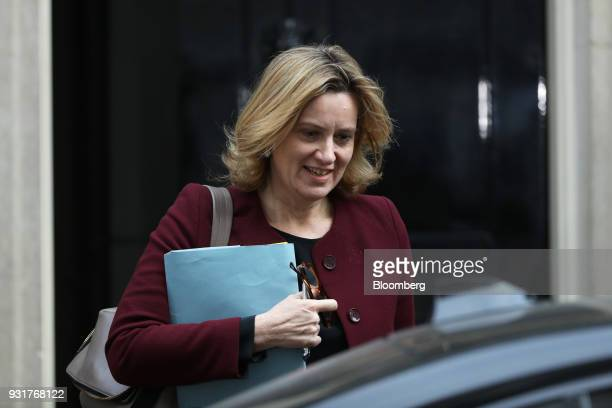 Amber Rudd UK home secretary leaves 10 Downing Street following a national security meeting in London UK on Wednesday March 14 2018 Prime...
