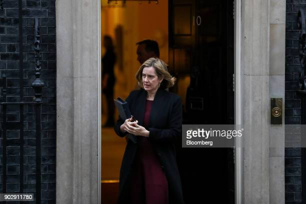 Amber Rudd UK home secretary leaves following a weekly meeting of cabinet minister at number 10 Downing Street in London UK on Tuesday Jan 9 2018 UK...