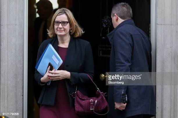 Amber Rudd UK home secretary leaves following a weekly meeting of cabinet ministers at number 10 Downing Street in London UK on Tuesday Jan 30 2018...