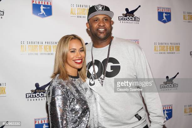 Amber Sabathia and CC Sabathia Attend CC Sabathia's PitCCh In Foundation All Stars of New York Charity Bowling at Bowlmor Times Square on June 5 2017...