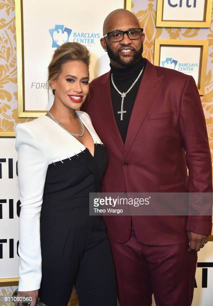 Amber Sabathia and CC Sabathia attend Roc Nation THE BRUNCH at One World Observatory on January 27 2018 in New York City