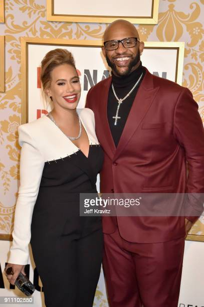 Amber Sabathia and CC Sabathia attends the 2018 Roc Nation PreGrammy Brunch at One World Trade Center on January 27 2018 in New York City