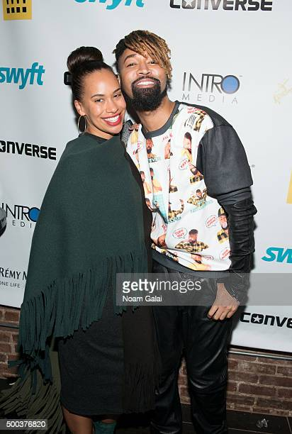 Amber Sabathia and Ty Hunter attend the Ty Hunter Emoji app launch on December 7 2015 in New York City