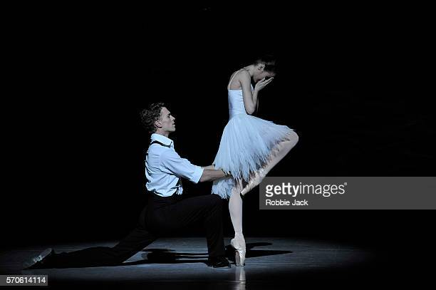 Amber Scott as Odette and Adam Bull as Prince Siegfried in The Australian Ballet's production of Graeme Murphy's Swan Lake at the Coliseum on July 13...