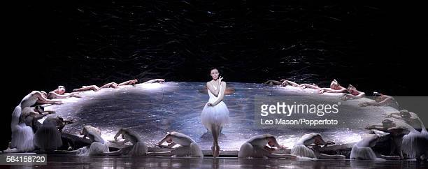 Amber Scott as Odette and cygnet members of The Australian Ballet company performing SWAN LAKE at the Coliseum on July 13, 2016 in London, England.