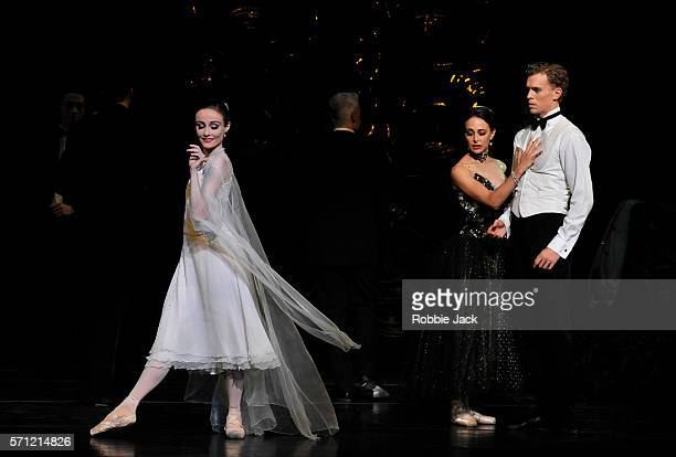 Amber Scott as Odette Dimity Azoury as Baroness von Rothbart and Adam Bull as Prince Siegfried in The Australian Ballet's production of Graeme...