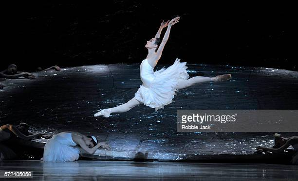 Amber Scott as Odette with artists of the company in The Australian Ballet's production of Graeme Murphy's Swan Lake at the Coliseum on July 13 2016...