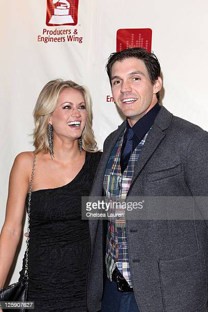 Amber Seyer and athlete Barry Zito arrive at Shaken Rattled Rolled GRAMMY event honoring TBone Burnett at The Village Recording Studios on February 9...