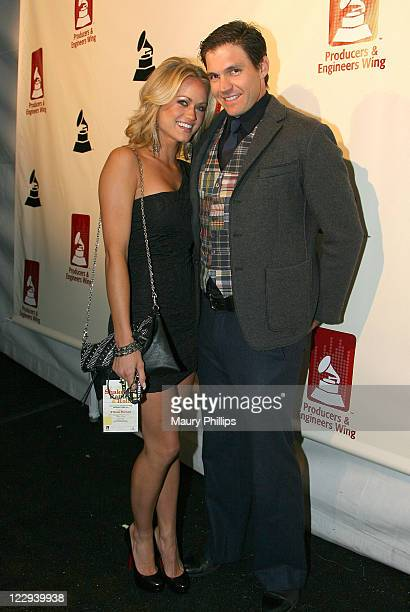 Amber Seyer and athlete Barry Zito attend The 53rd Annual GRAMMY Awards PE Wing Event Shaken Rattled and Rolled at Villiage Studios on February 9...