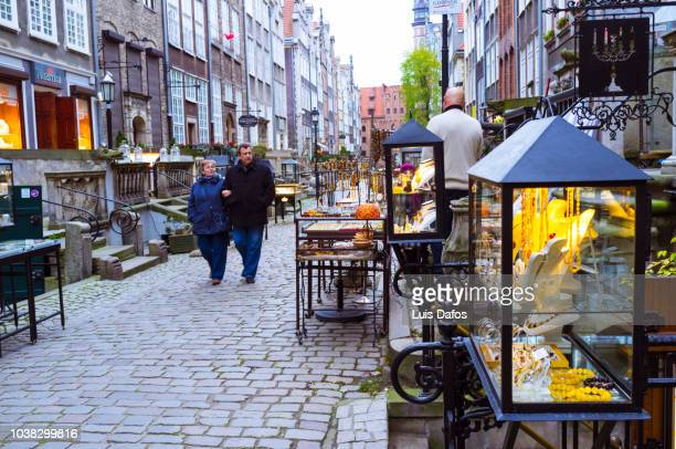amber shops at st. mary's street, gdansk - dafos stock photos and pictures