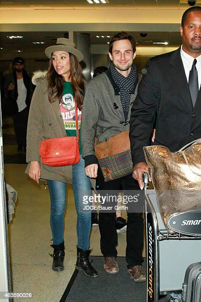 Amber Stevens and Andrew West are seen at LAX on February 15 2015 in Los Angeles California