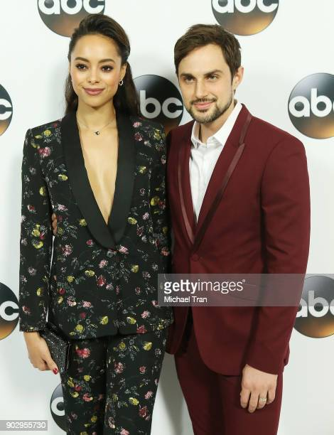 Amber Stevens West and Andrew J West attend the Disney ABC Television Group hosts TCA Winter Press Tour 2018 held at The Langham Huntington on...