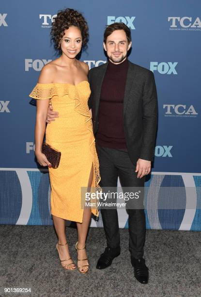 Amber Stevens West and Andrew J West attend the FOX AllStar Party during the 2018 Winter TCA Tour at The Langham Huntington Pasadena on January 4...