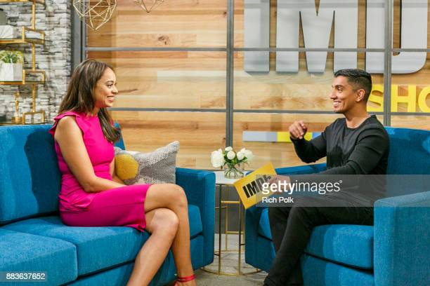 Amber Stevens West and cohost Tim Kash on the set of The IMDb Show on December 1st 2017 in Studio City California