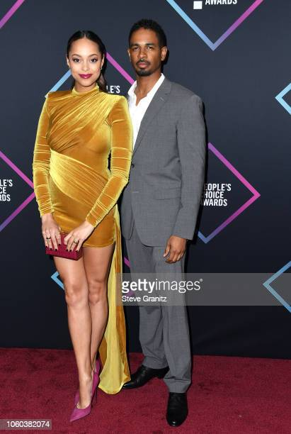 Amber Stevens West and Damon Wayans Jr attends the People's Choice Awards 2018 at Barker Hangar on November 11 2018 in Santa Monica California