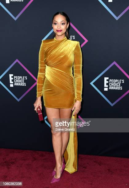 Amber Stevens West attends the People's Choice Awards 2018 at Barker Hangar on November 11 2018 in Santa Monica California