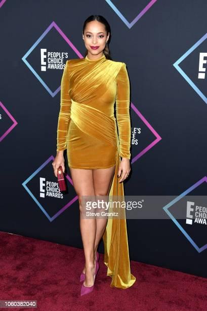 Amber Stevens West attends the People's Choice Awards 2018 at Barker Hangar on November 11 2018 in Santa Monica California