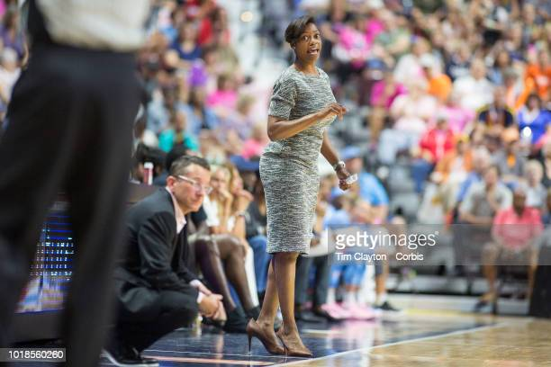 Amber Stocks head coach of the Chicago Sky on the sideline during the Connecticut Sun Vs Chicago Sky WNBA regular season game at Mohegan Sun Arena on...